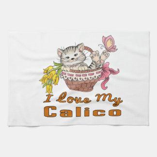 Jag älskar min Calico Kökshandduk