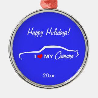 Jag älskar min Camaro - grönt Julgransprydnad Metall