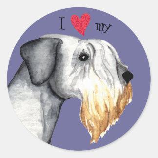 Jag älskar min Cesky Terrier Runt Klistermärke