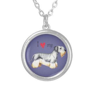 Jag älskar min Cesky Terrier Silverpläterat Halsband