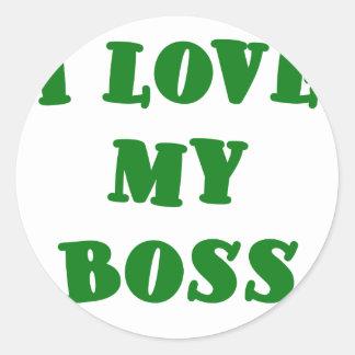 Jag älskar min chef runt klistermärke