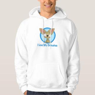 Jag älskar min Chihuahua (blått) Sweatshirt Med Luva