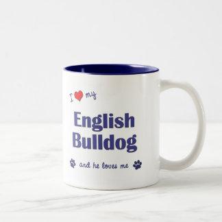 Jag älskar min engelska bulldogg (den Male hunden) Två-Tonad Mugg