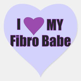 Jag älskar min Fibro Babe Hjärtformat Klistermärke