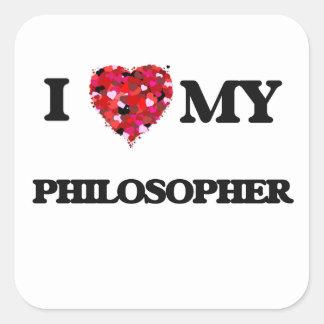Jag älskar min filosof fyrkantigt klistermärke