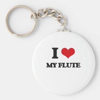 Jag älskar min flöjt rund nyckelring