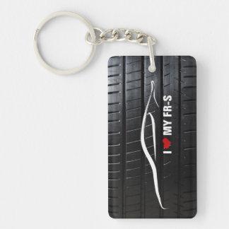 Jag älskar min FR-S med däckdäckmönster Rektangulärt Enkelsidig Nyckelring I Akryl