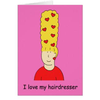 Jag älskar min frisör, skraj blond beehive. hälsningskort
