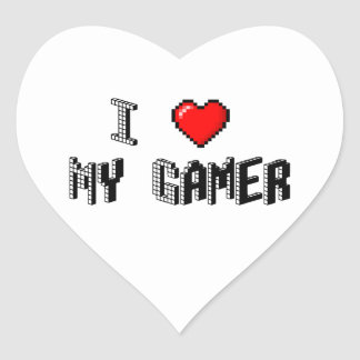 Jag älskar min Gamer Hjärtformat Klistermärke