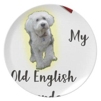 Jag älskar min gammala engelska Sheepdog Tallrik