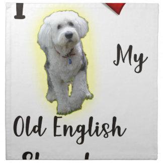Jag älskar min gammala engelska Sheepdog Tygservett