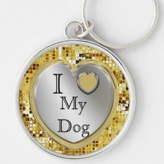 Jag älskar min hund eller? Hjärtnyckelring Rund Silverfärgad Nyckelring