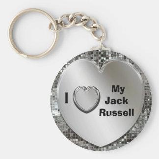 Jag älskar min jackRussell hjärtnyckelring Rund Nyckelring
