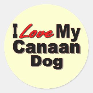 Jag älskar min Kanaan hundMerchandise Runt Klistermärke