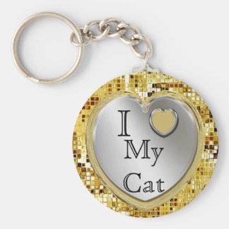 Jag älskar min katt eller? Hjärtnyckelring Rund Nyckelring