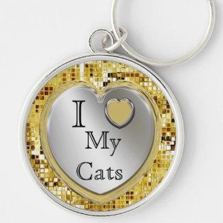 Jag älskar min katter eller? Hjärtnyckelring Rund Silverfärgad Nyckelring