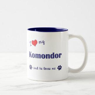 Jag älskar min Komondor (den Male hunden) Två-Tonad Mugg