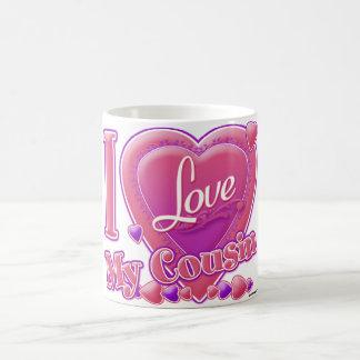 Jag älskar min kusinrosor/lilor - hjärta kaffemugg