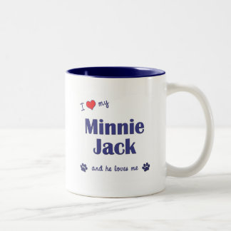 Jag älskar min Minnie jack (den Male hunden) Två-Tonad Mugg