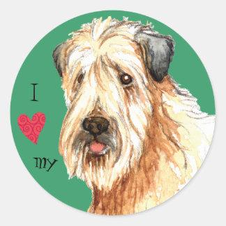 Jag älskar min mjuka bestrukna Wheaten Terrier Runt Klistermärke