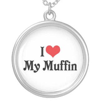 Jag älskar min muffin silverpläterat halsband