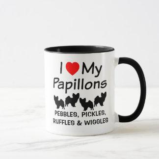 Jag älskar min mugg för fyra Papillon hundar