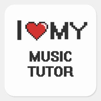 Jag älskar min musik handleder fyrkantigt klistermärke