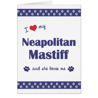 Jag älskar min Neapolitan Mastiff (den kvinnliga OBS Kort