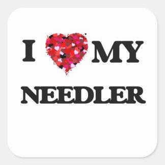 Jag älskar min Needler Fyrkantigt Klistermärke