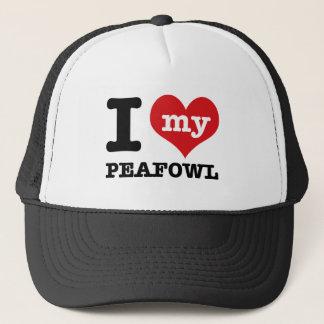 Jag älskar min peafowl truckerkeps