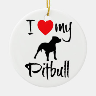 Jag älskar min Pitbull Julgransprydnad Keramik