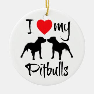 Jag älskar min Pitbulls Julgransprydnad Keramik
