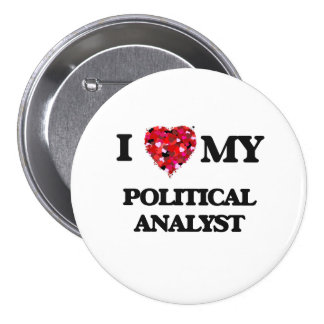Jag älskar min politisk analytiker mellanstor knapp rund 7.6 cm