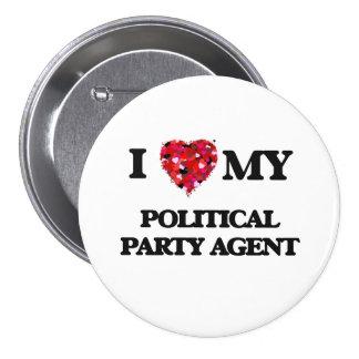 Jag älskar min politiskt partiagent mellanstor knapp rund 7.6 cm