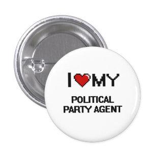 Jag älskar min politiskt partiagent mini knapp rund 3.2 cm