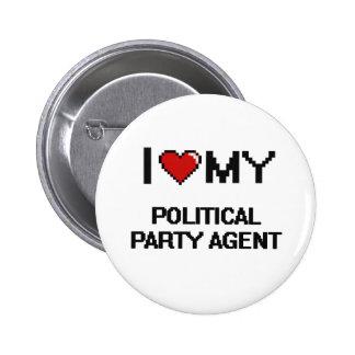 Jag älskar min politiskt partiagent standard knapp rund 5.7 cm