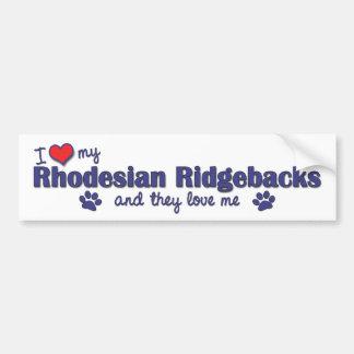 Jag älskar min Rhodesian Ridgebacks (åtskilliga hu Bildekal