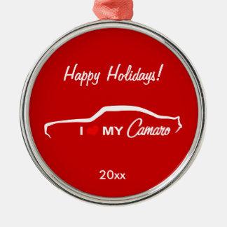 Jag älskar min röda Camaro - Julgransprydnad Metall