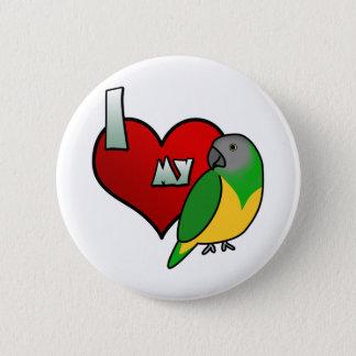 Jag älskar min Senegal som papegojan knäppas Standard Knapp Rund 5.7 Cm