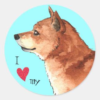 Jag älskar min Shiba Inu Runt Klistermärke