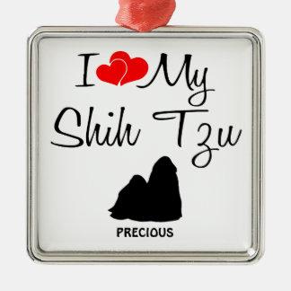 Jag älskar min Shih Tzu hund Julgransprydnad Metall
