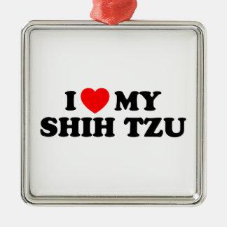 Jag älskar min Shih Tzu prydnad Julgransprydnad Metall