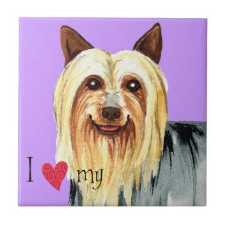 Jag älskar min silkeslena Terrier Kakelplatta