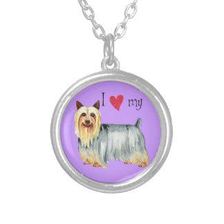 Jag älskar min silkeslena Terrier Silverpläterat Halsband