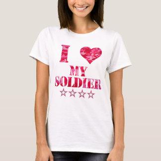 jag älskar min soldat, gullig kamouflage tee shirts