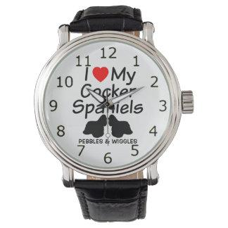 Jag älskar min Spaniels för TVÅ cockerspaniel Armbandsur