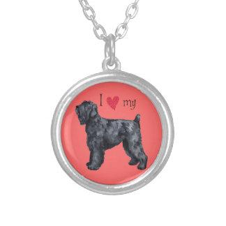 Jag älskar min svart ryska Terrier Silverpläterat Halsband