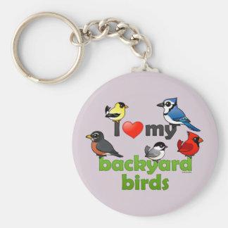 Jag älskar min trädgårdfåglar rund nyckelring