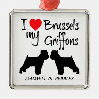 Jag älskar min två Bryssel Griffon Dogss Julgransprydnad Metall