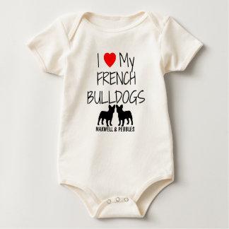 Jag älskar min två franska bulldoggar body för baby